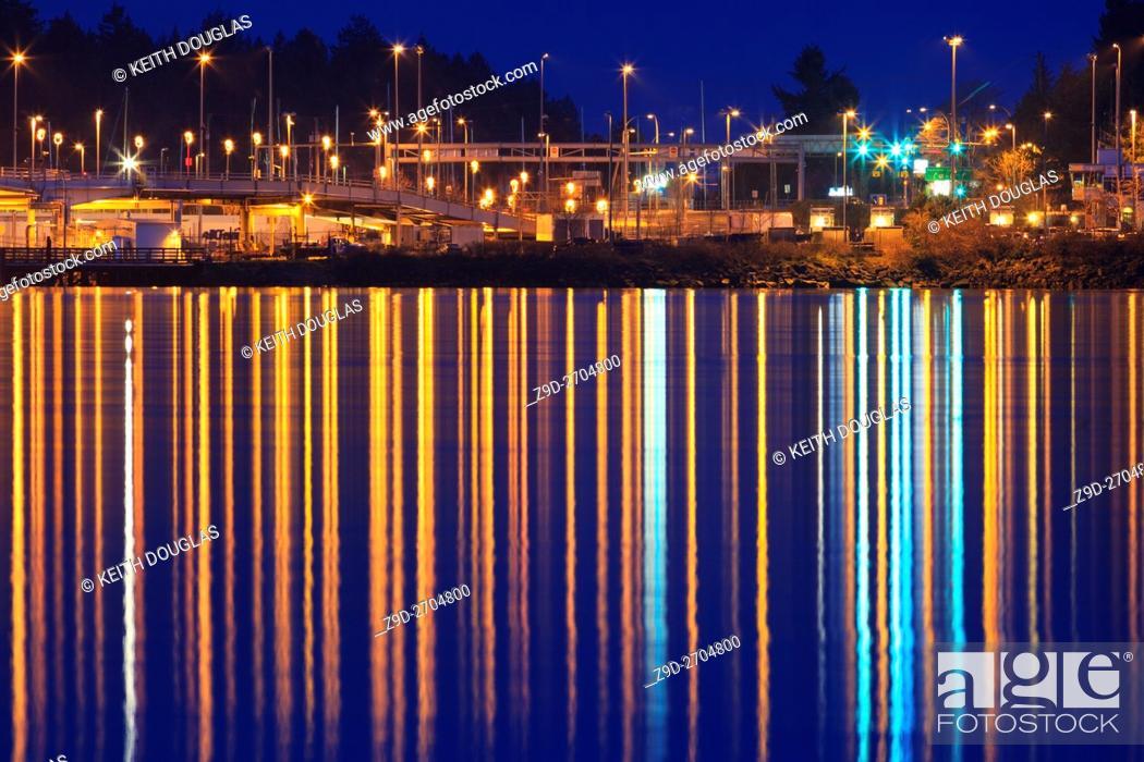 Stock Photo: BC Ferry terminal at dusk, Departure Bay, Nanaimo, Vancouver Island, British Columbia.