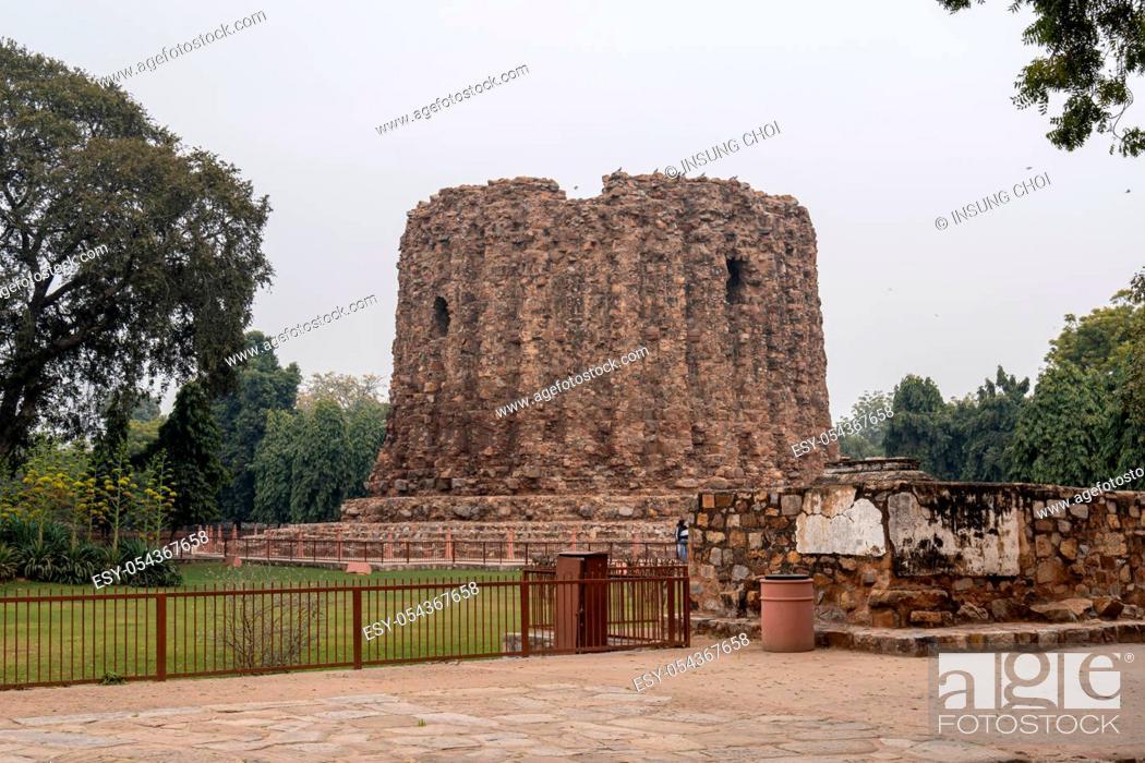 Stock Photo: alai minar in qutb or qutub minar complex in new delhi, india.
