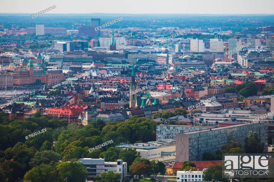 Stock Photo: Beautiful super wide-angle panoramic aerial view of Stockholm, Sweden with harbor and skyline with scenery beyond the city, seen from the ferry.