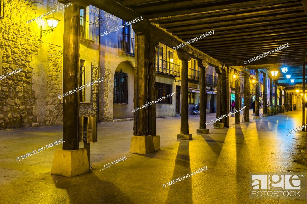 Stock Photo: Calle Mayor - Main street. Burgo de Osma, Soria, Castilla y León, Spain, Europe.