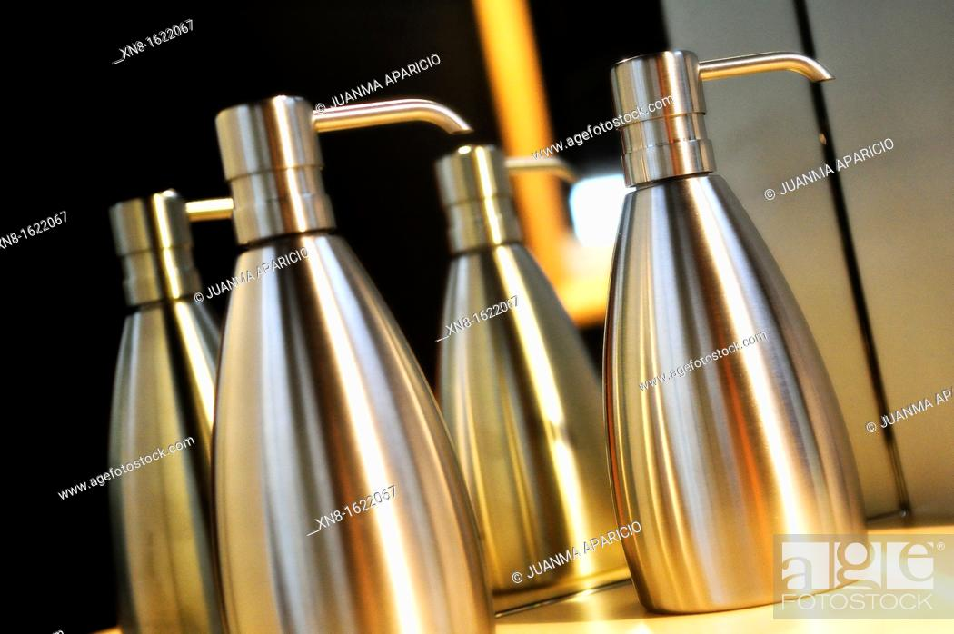 Stock Photo: Stainless steel soap dispensers.