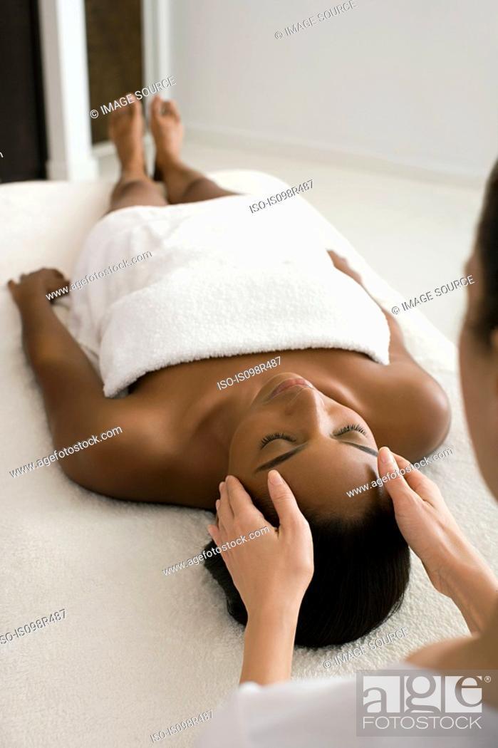 Stock Photo: Woman having a head massage.