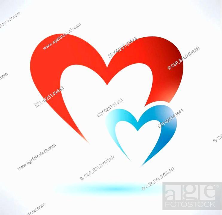 Stock Vector: two hearts vector symbol, love concept.