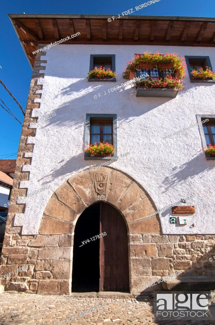 Stock Photo: Ochagabia traditional architecture  Rural house facades of the Village  Salazar Valley  Navarre, Spain  Europe.