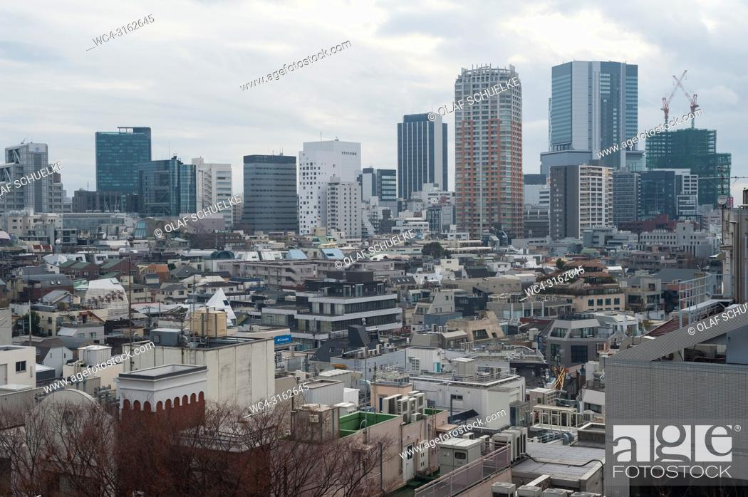 Stock Photo: 31. 12. 2017, Tokyo, Japan, Asia - A view of the panoramic skyline of Japan's capital Tokyo as seen from the Tokyu Plaza Omotesando in Harajuku.