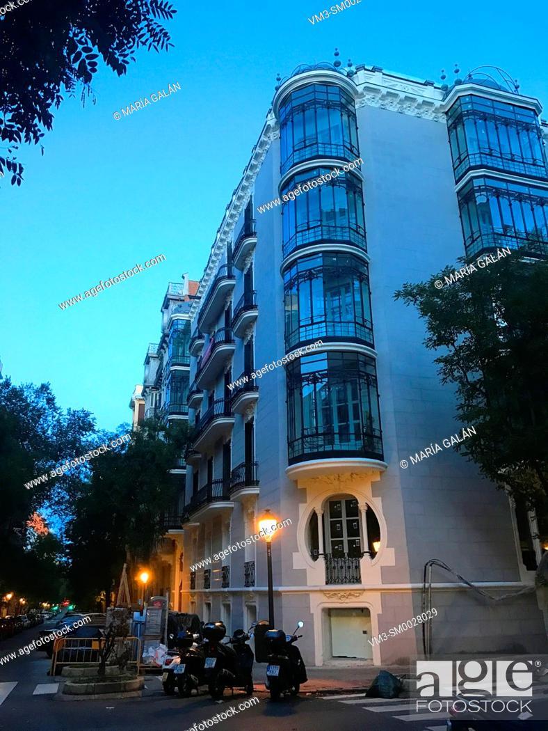 Stock Photo: Facade of Art Nouveau house, night view. Ayala street, Madrid, Spain.