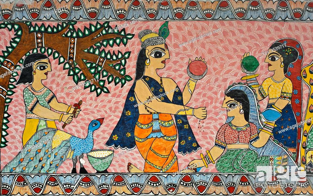 Stock Photo: Mural painting the Madhubani style ( Bihar, India). The Madhubani ( or Mithila) style of painting is an art form practiced in northern india and southern Nepal.