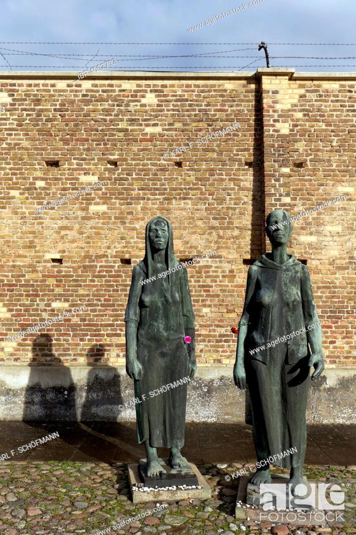 Stock Photo: Sculptures of women in front of the Wall of Nations, Ravensbrück National Memorial, former women's concentration camp, Fürstenberg Havel, Brandenburg, Germany.
