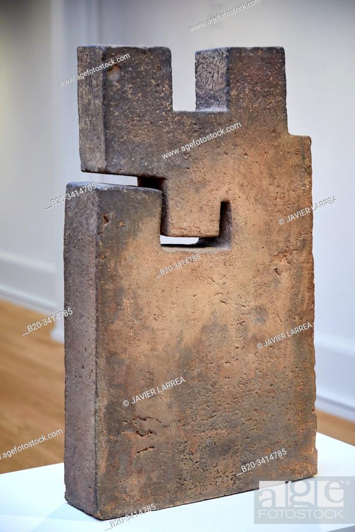 """Stock Photo: """"Lurra LV"""", 1980, Eduardo Chillida (1924-2002), Museo de Bellas Artes, Bilbao, Bizkaia, Basque Country, Spain."""