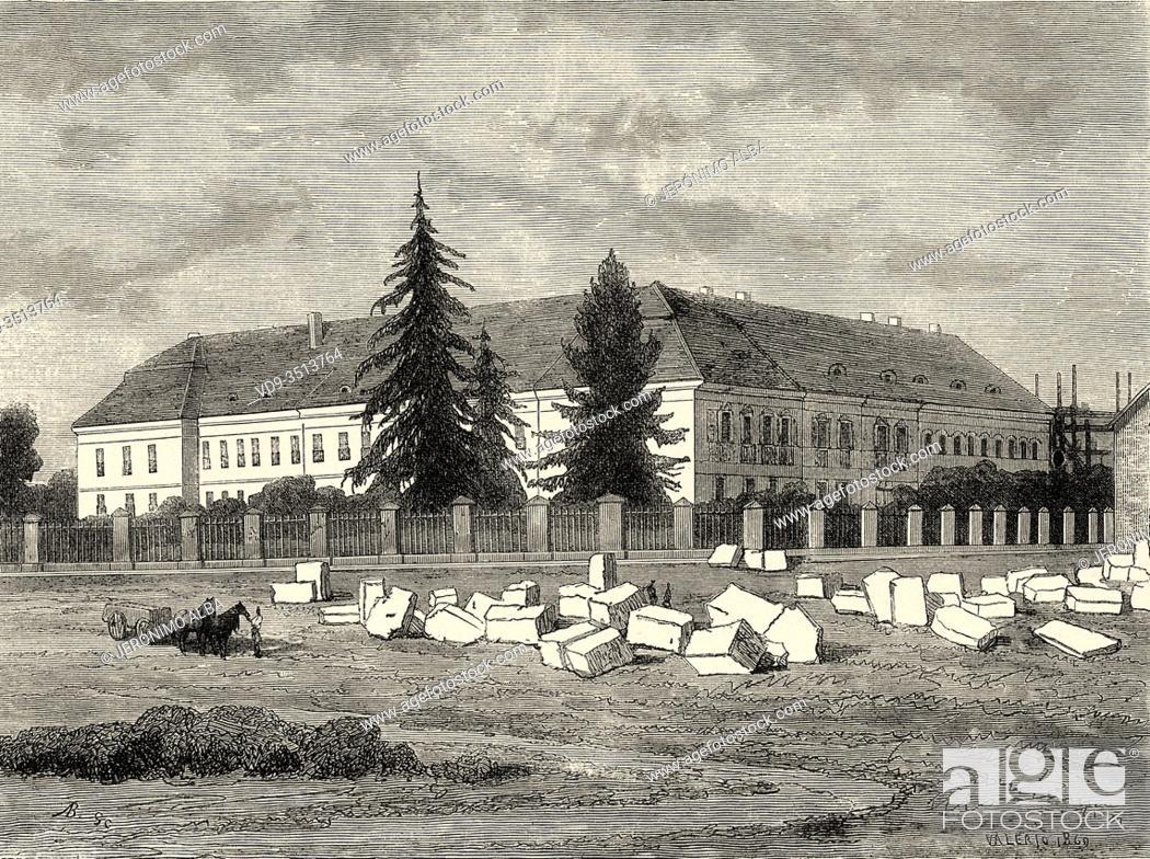 Photo de stock: Episcopal palace of Essek, Slavonija region of Croatia. Europe, Old engraving illustration Trip land of southern Slavs by M. Perrot.