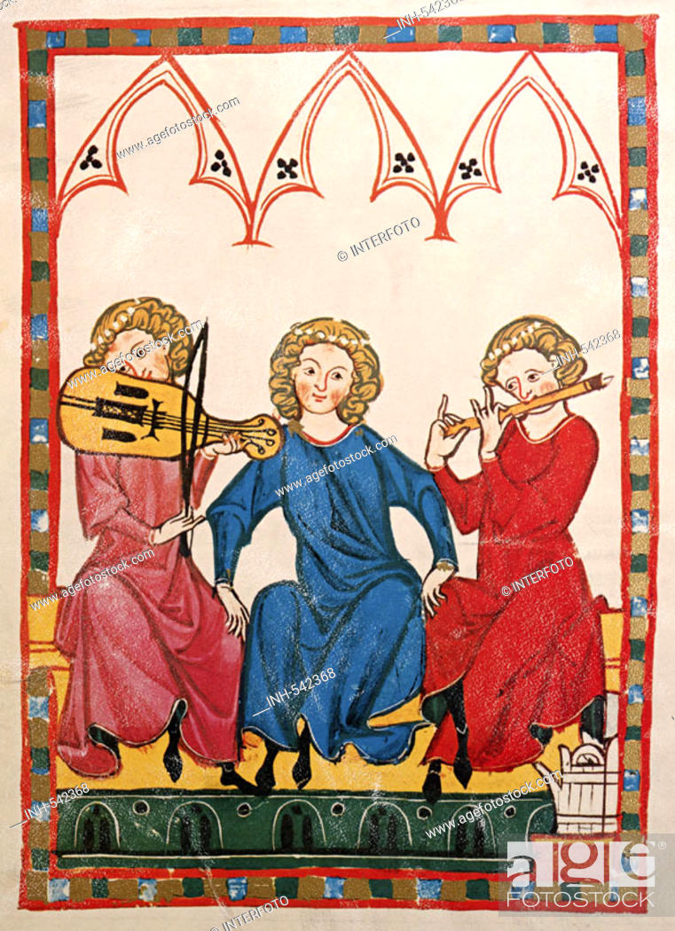 Stock Photo: fine arts, middle ages, Gothic, illumination, Codex Manesse, Zurich, 1305 - 1340, the Chancellor, covering colour on vellum, University of Heidelberg Library.