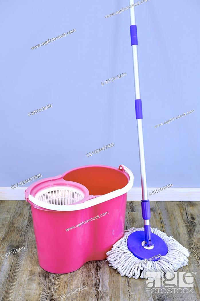 Stock Photo: A studio photo of a cleaning mop.