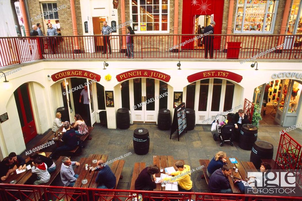Stock Photo: England - London - Soho district - Covent Garden Market - people at restaurant - elevated view.