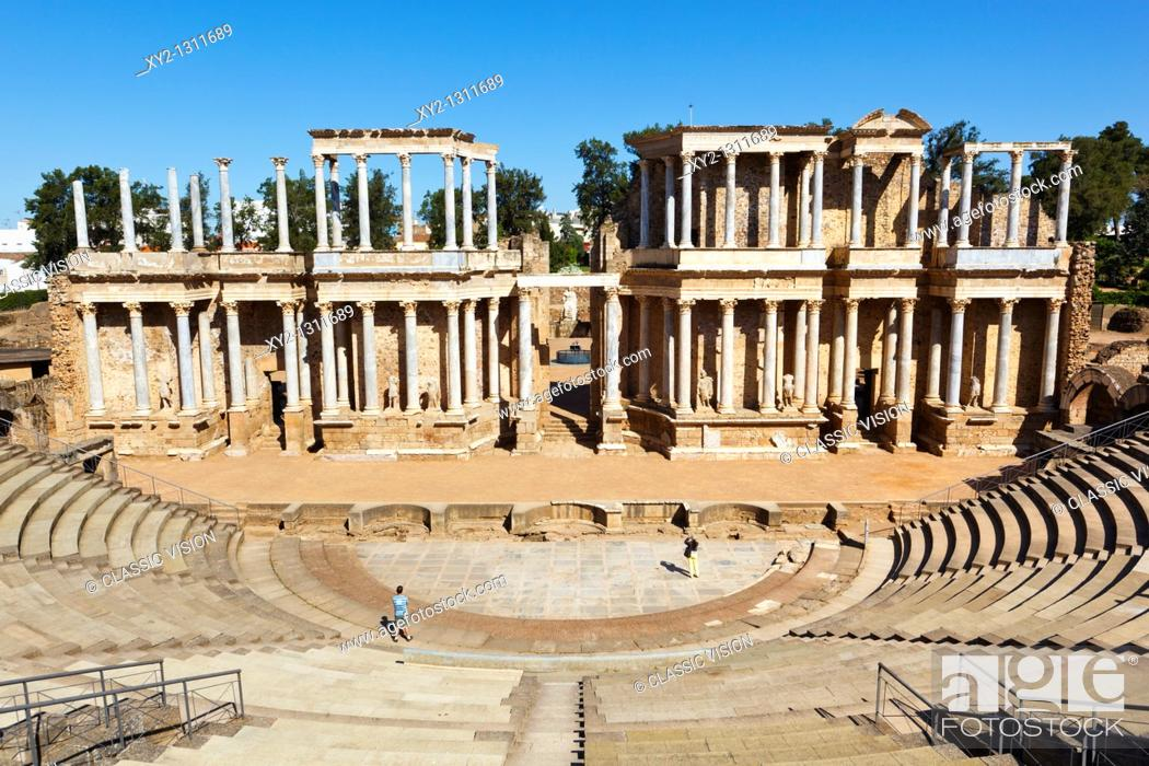 Stock Photo: The Roman theatre built in the first century BC. Merida, Badajoz Province, Spain.
