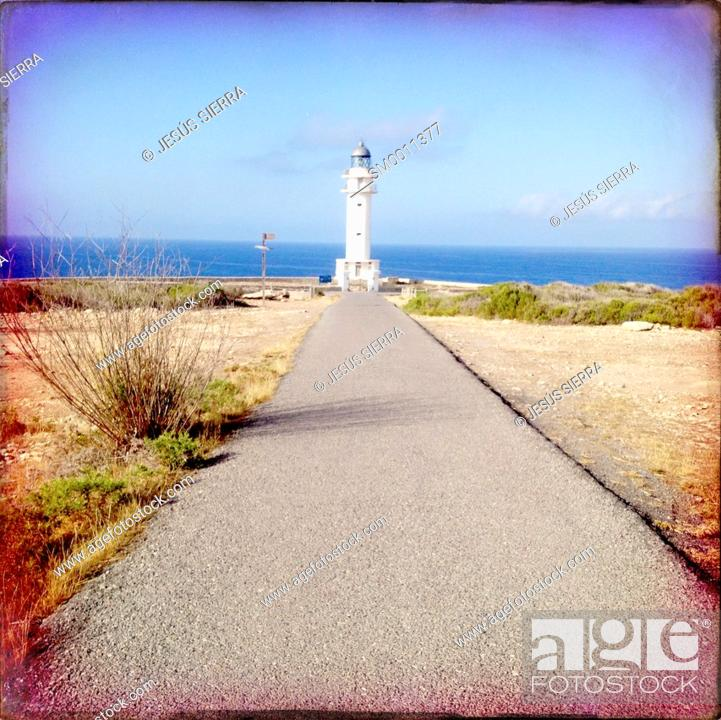 Stock Photo: Barbaria Cape Lighthouse in formentera Balearic island in Mediterranean.