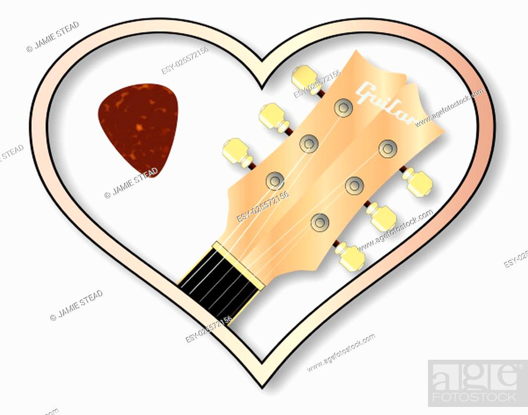 Stock Photo: A guitar headstock and plectrum inset into a isolated pink heart.