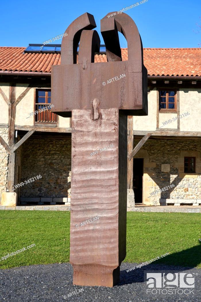 "Stock Photo: """"""In Praise of Iron III, Corten Steel"""", 1991, Eduardo Chillida (1924-2002), Chillida Leku Museoa, Donostia, San Sebastian, Basque Country, Spain."