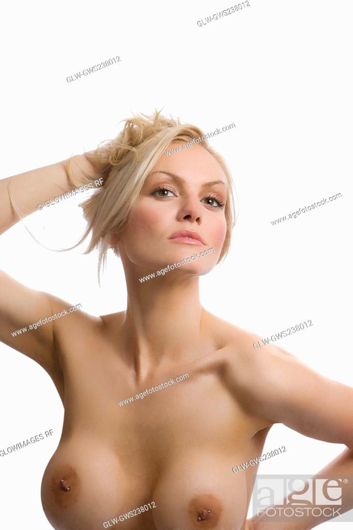 Stock Photo: Portrait of naked young woman posing.