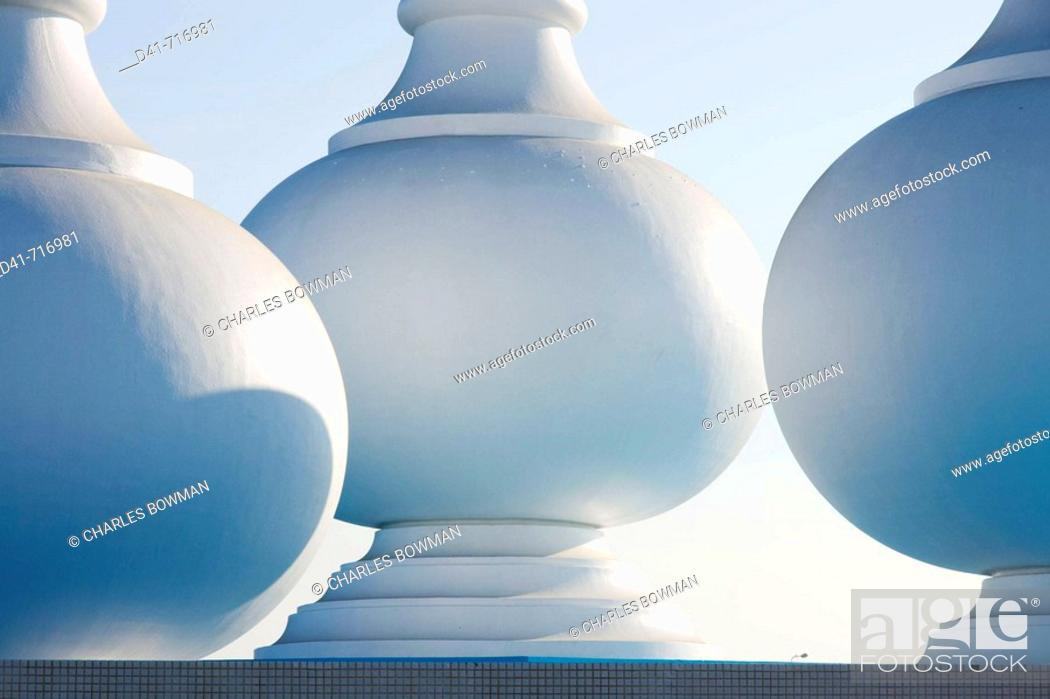 Stock Photo: Middle east, Qatar, Doha perfume bottle monument.