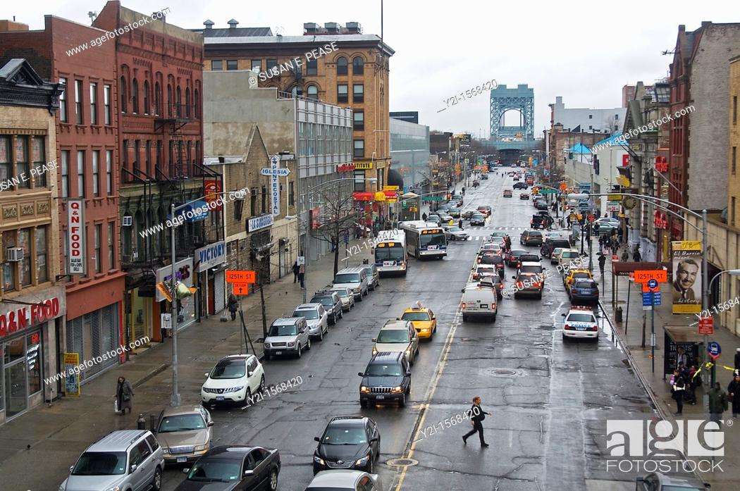 Stock Photo: View of a street from 125th Street Train Station, Harlem, Manhattan, New York City.
