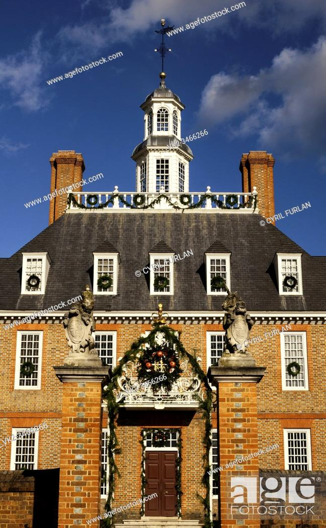 Stock Photo: Governors Palace Colonial Williamsburg, Virginia.