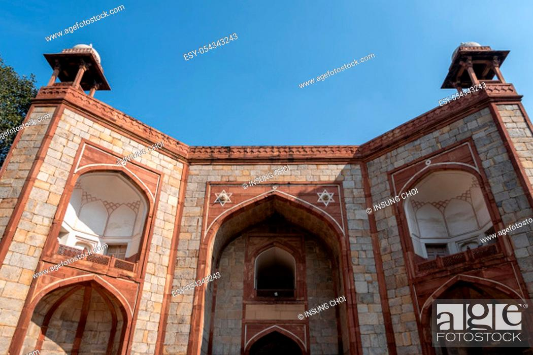 Stock Photo: west gate of humayun's tomb complex in new delhi, india.