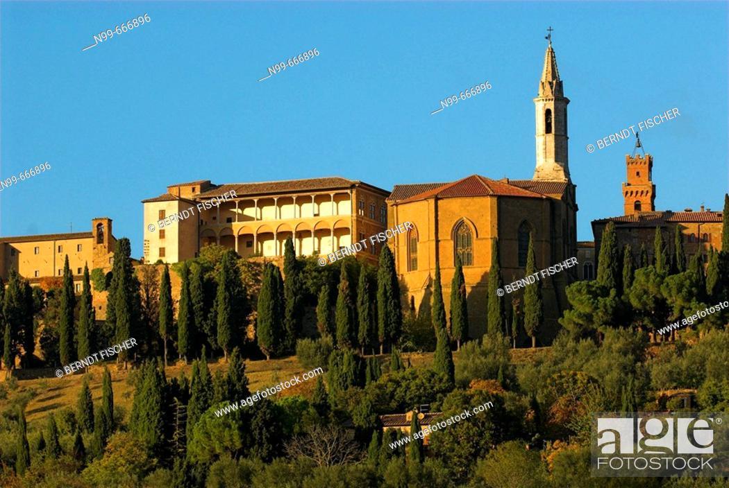 Stock Photo: Pienza, Renaissance town, cathedral, Palazzo Piccolomini and Palazzo Pubblico, cypresses (Cupressus sempervirens) and gardens, Tuscany, Italy.