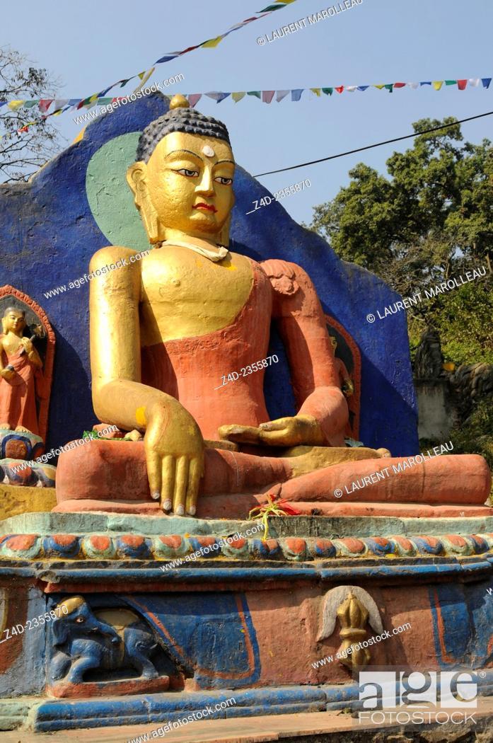 Stock Photo: Buddah at the Entrance to the Swayambhunath Temple. Kathmandu, Bagmati Zone, Nepal.