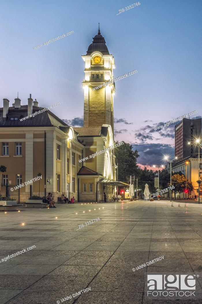 Stock Photo: Bulgaria, Burgas. The Central Rail way station building in Burgas, designed in Art Nouveau Architectural style at night.
