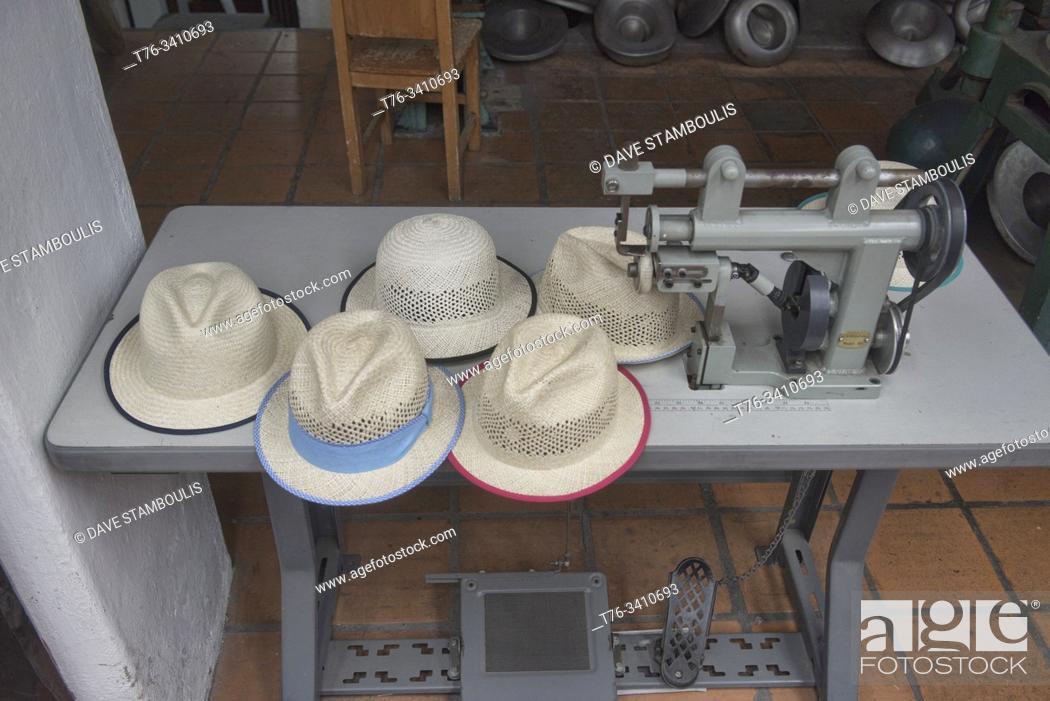 Stock Photo: Scenes from a Panama hat (paja toquilla) factory in Cuenca, Ecuador.