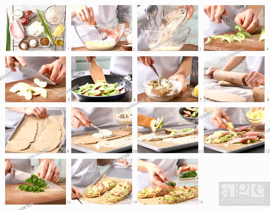 Stock Photo: How to prepare pizza with celery, apple and boiled ham.