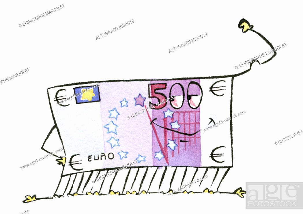 Stock Photo: Euro bill smiling.