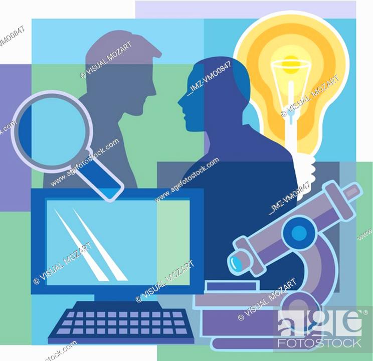 Stock Photo: A montage of two men, a light bulb, a magnifying glass, a microscope, and a computer.