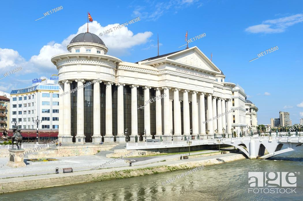 Stock Photo: Archaeological Museum of Macedonia along the Vardar River, Skopje, Macedonia.