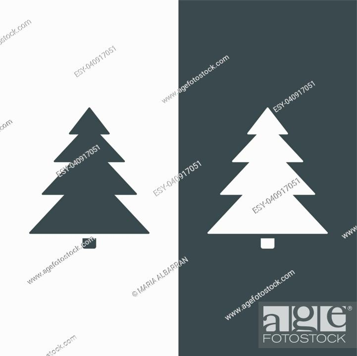 Stock Vector: Isolated Christmas tree icon on black and white background. Vector illustration.