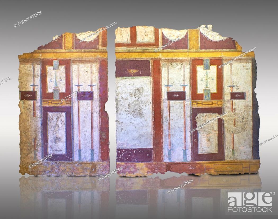 Imagen: Roman fresco wall decorations of Room E10 0f La Domus, Rome. Museo Nazionale Romano, 130-140AD ( National Roman Museum), Rome, Italy.
