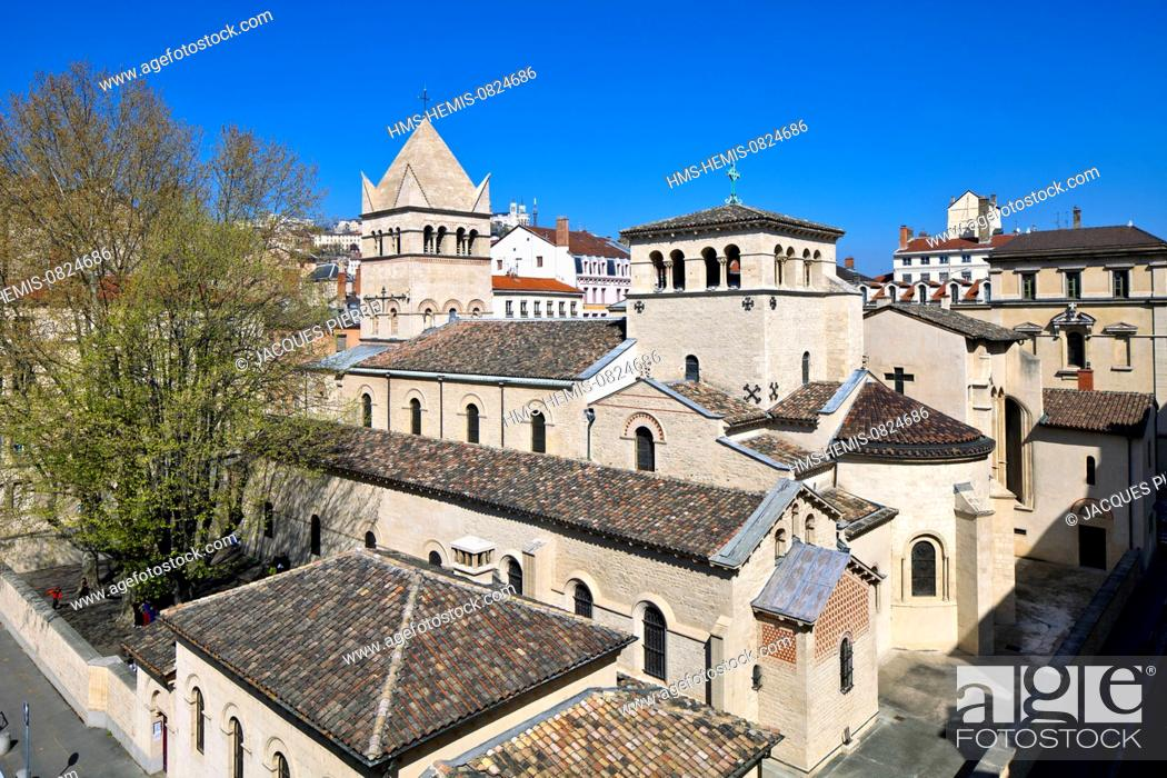 Stock Photo: France, Rhone, Lyon, historical site listed as World Heritage by UNESCO, St Martin d'Ainay Basilica and the school Lucie Aubrac with a view of the Notre Dame de.
