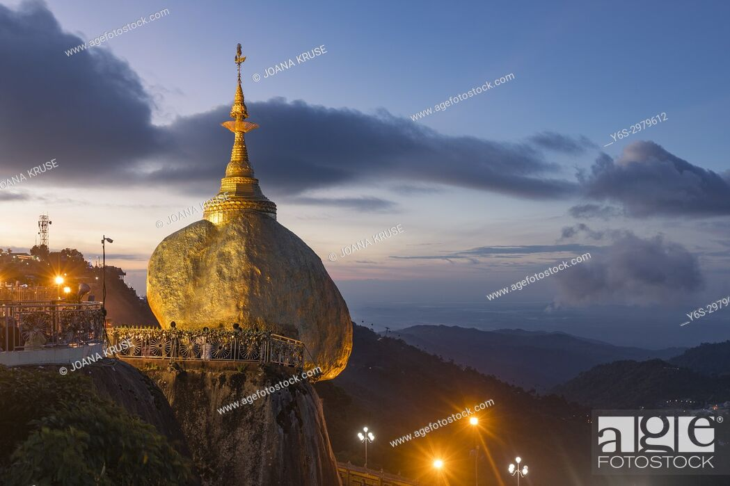 Stock Photo: Kyaiktiyo Pagoda, Golden Rock, Myanmar, Asia.
