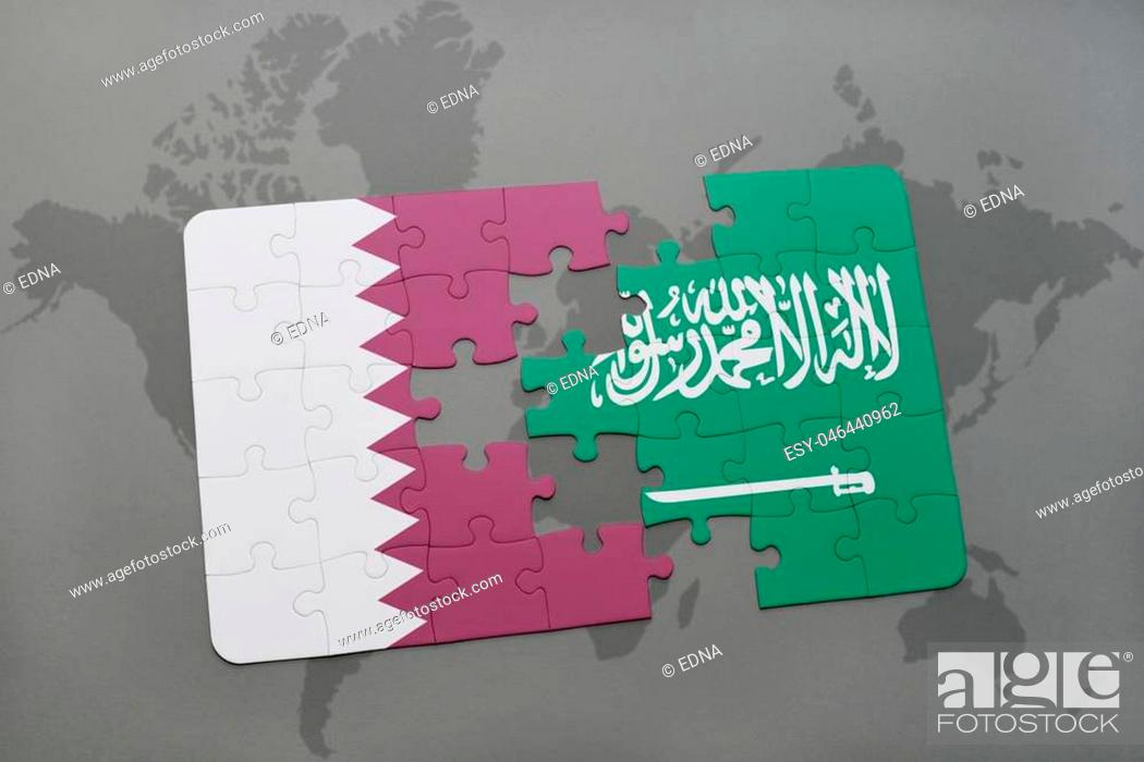 Stock Photo: puzzle with the national flag of qatar and saudi arabia on a world map background. 3D illustration.