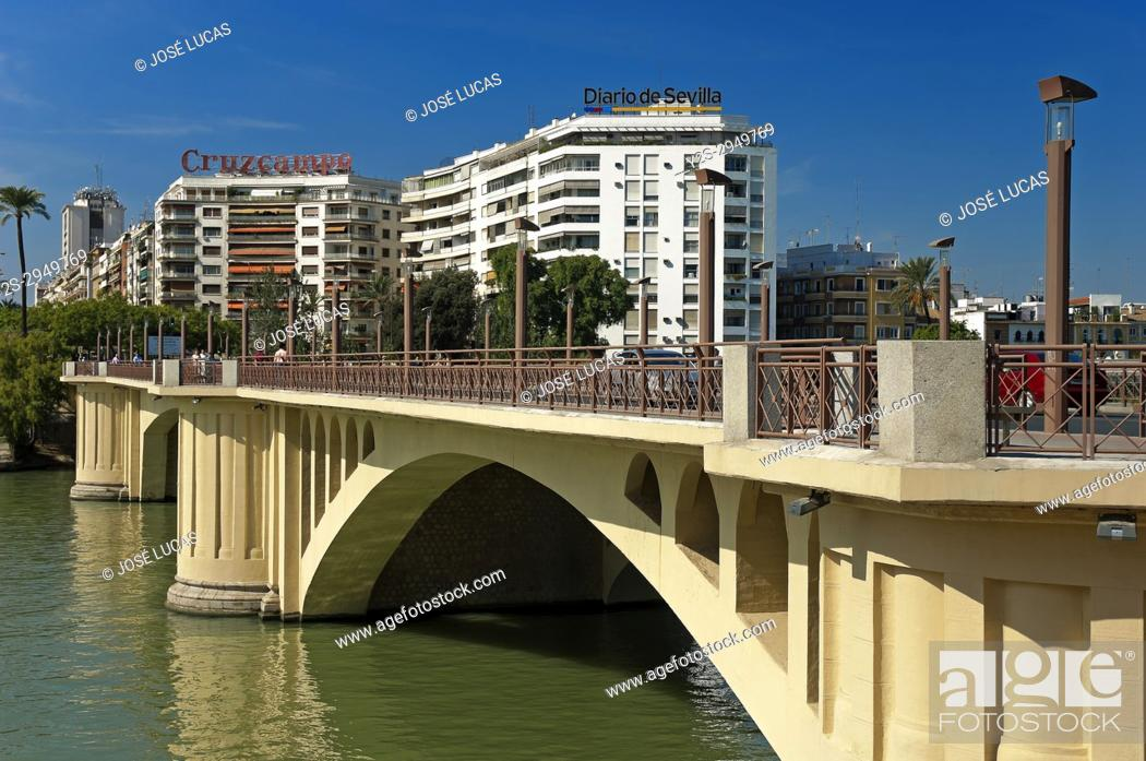 Stock Photo: San Telmo Bridge and river Guadalquivir, Seville, Region of Andalusia, Spain, Europe.