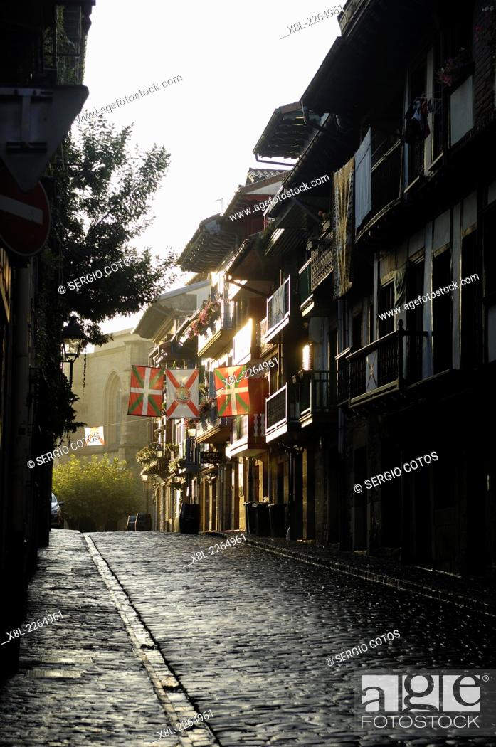 Stock Photo: Street in the old city of Fuenterrabia, Basque Country, Spain.