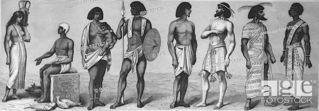 Imagen: Ancient people and cultural history, Egyptian national costume, 1 + 2, Numidians, 3 and 4, other Egyptians, from left, historic steel engraving, 1875.