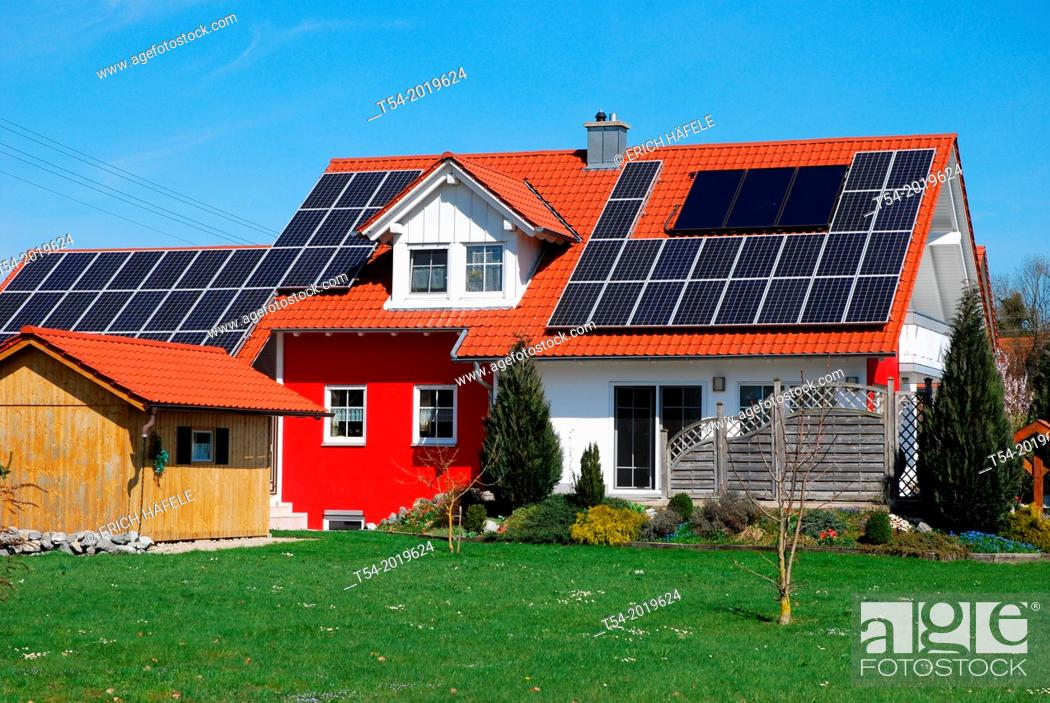 Stock Photo: House with solar power plant.