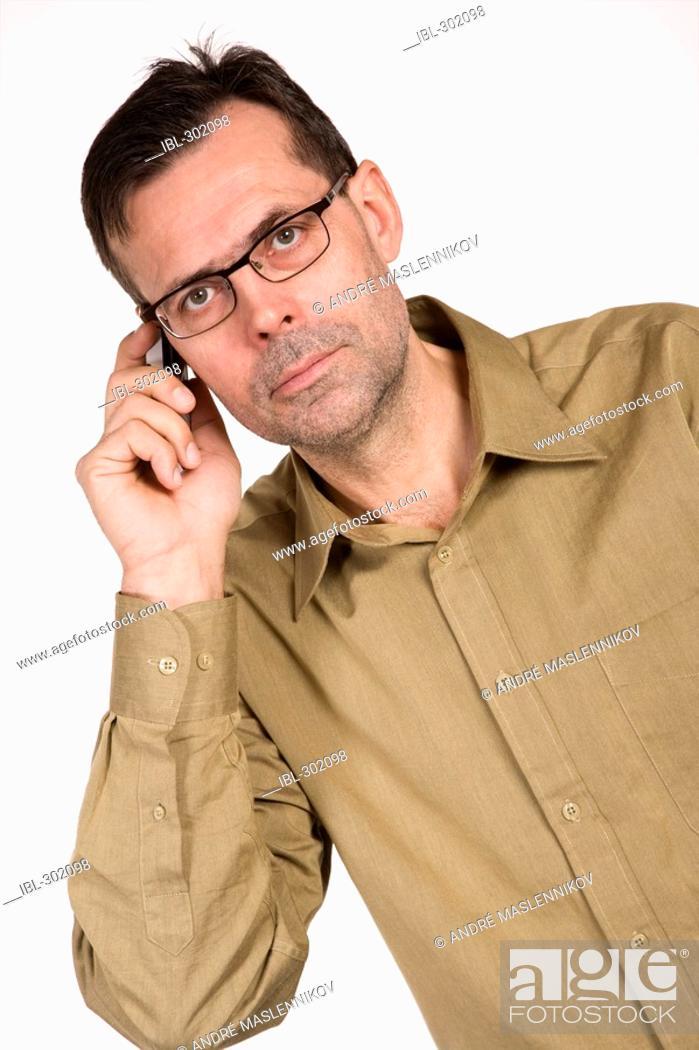 Stock Photo: Man with telephone.