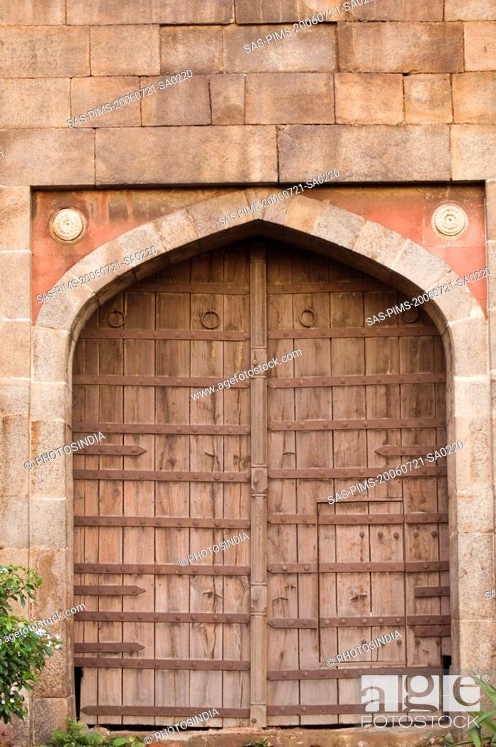Stock Photo: Entrance of a fort, Old Fort, Delhi, India.