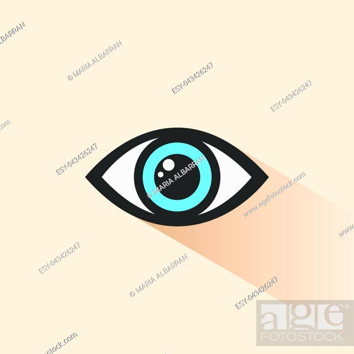 Vector: Blue human eye icon with shade. Vector illustration.