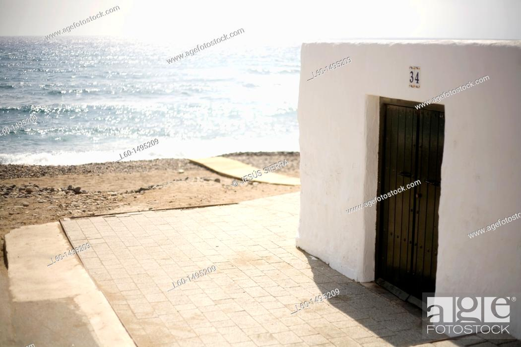 Stock Photo: House in Beach, Las Negras, Natural Park Cabo de Gata-Nijar, Almeria, Spain.