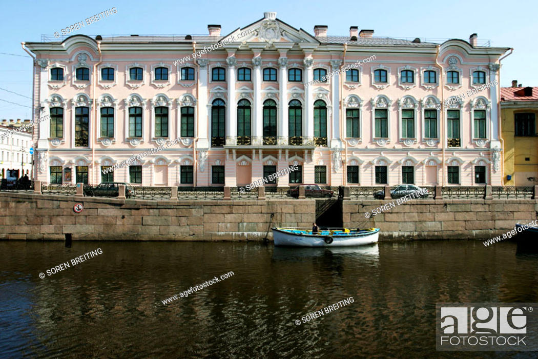 Stock Photo: Stroganov Palace in St. Petersburg (Saint-Petersburg, former Leningrad) by Moika River. Rosy colored walls and Baroque-style architecture. Russia.