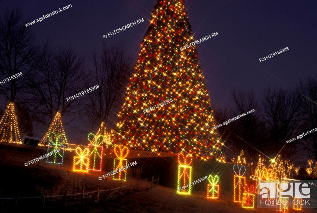 Stock Photo - Christmas tree, decoration, Marietta, GA, Georgia, Atlanta,  Lights of Life Christmas light display of Christmas tree and presents at  Life ... - Christmas Tree, Decoration, Marietta, GA, Georgia, Atlanta, Stock