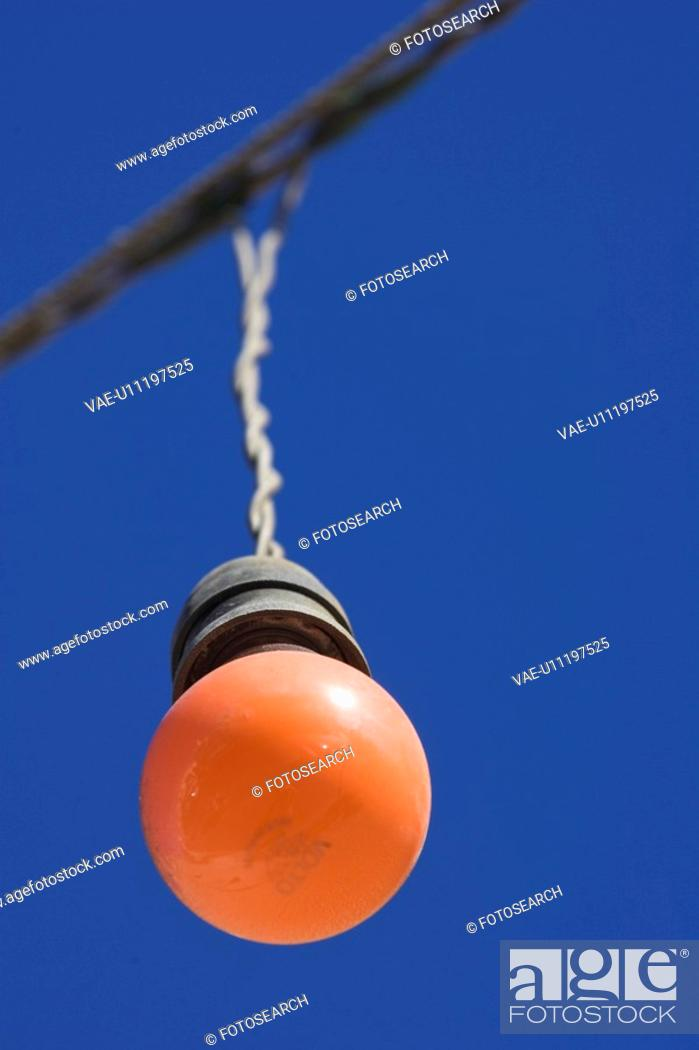 Stock Photo: Blue, Clear Sky, Close-Up, Electrical Component, Hanging.